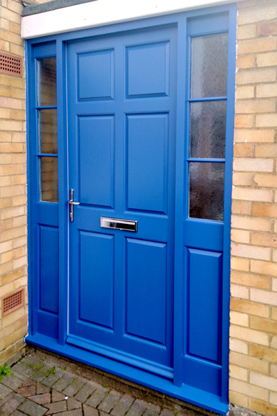 Blue door with side panels by Dunstable Joinery